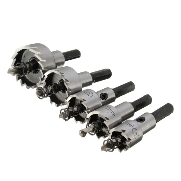 5 unids / set HSS Brocas con punta de carburo Broca para sierra Conjunto Acero Aleación de metal de acero inoxidable 16 / 18.5 / 20/25 / 30mm