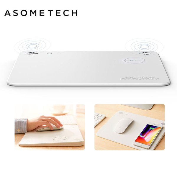 4 in 1 Bluetooth Speaker Wireless Charging Mouse Pad Qi Smart Phone Charger Gaming Mousepad 5000mAh Power Home Office Mouse Mat