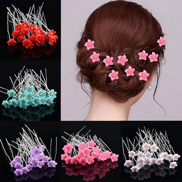 Neuer Art-Art und Weise 20 PC / Satz Frauen-Blumen-Haarnadel-Stock-freier Kristallrhinestone U-geformter Haar-Klipp-Hochzeits-Brautkopfbedeckung