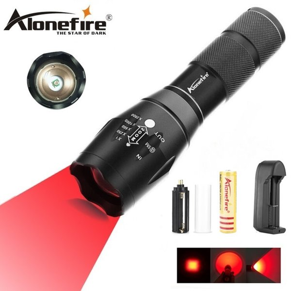 AloneFire E17 Zoomable Scalable CREE LED Red Light Flashlight Red Hunting Light Tactical Flashlight Red Light Torch For Hunting & Detector