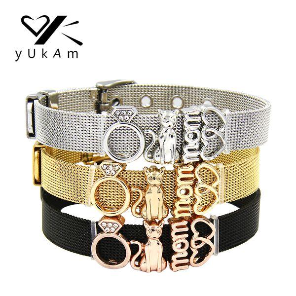 YUKAM Jewelry Crystal Love Cat Mom Interlocking Hearts Charms Bracelets Bangles Keys Women Stainless Steel Mesh Keeper Bracelets