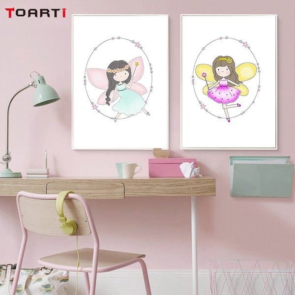 Cute Colorful Fairy Canvas Art Painting Print And Poster Pink Nursery Wall Art Decor Wall Pictures For Girls Bedroom Home Decor