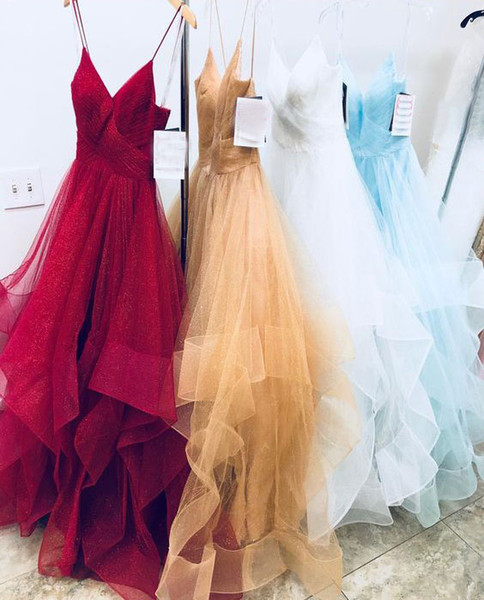 Hot Selling Spaghetti Straps Sleeveless Organza Balll Gown Prom Dresses Wedding Dresses Evening Gowns for Women
