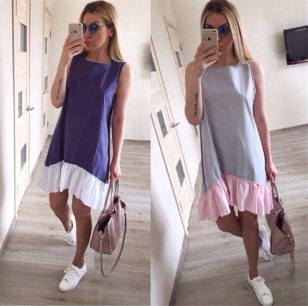 Summer Sleeveless Casual Dresses 2018 Women Loose Patchwork Sleeveless Ruffles O-Neck Mini Beach Dress Plus Size