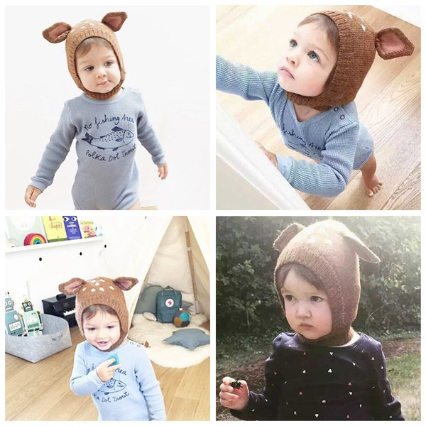 INS Baby Sika deer Knitted Caps Cute Rabbit Ears Hats Costume Crochet Knitting Winter Hat Infant Girls Boys Photography Props Hats LC643
