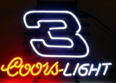 Custom New Coors Light Nascar #3 Real Glass Neon Sign light Beer Bar Sign Send need photo 19x15""