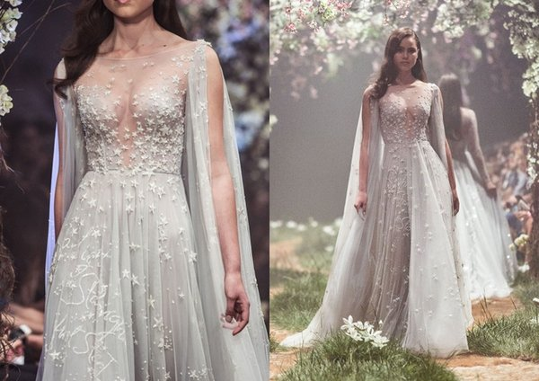 2018 Paolo Sebastian Prom Dresses Bling Stars Embriodery Illusion Jewel Neck Luxury Evening Gowns Sweep Train Tulle Formal Dress Party Wear