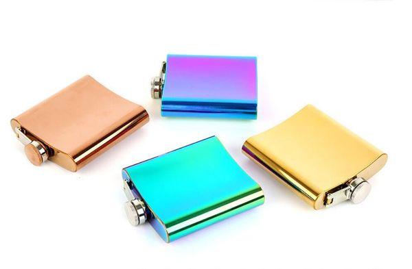 Portable 6oz Flachmann Vergoldet Farbverlauf Rainbow Colored Edelstahl Flask Screw Cap Whisky Weinflasche