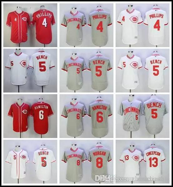 Cincinnati 4 Scooter Gennett 5 Johnny Bench 6 Billy Hamilton 8 Joe Morgan Flexbase baseball Jerseys Cool Base Stitched Red White