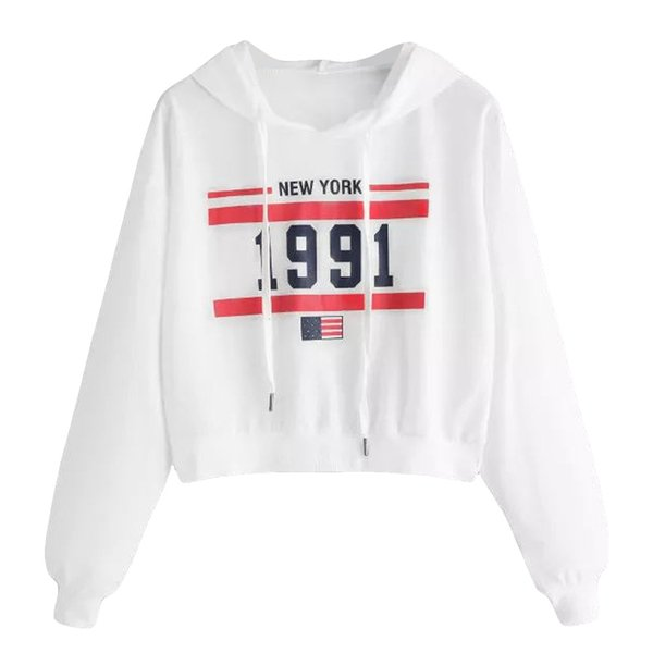 FeiTong Sweatshirt Letter Print Drop Shoulder White Pullover Women Autumn Casual Tops Hooded Female Long Sleeve Sweatshirt