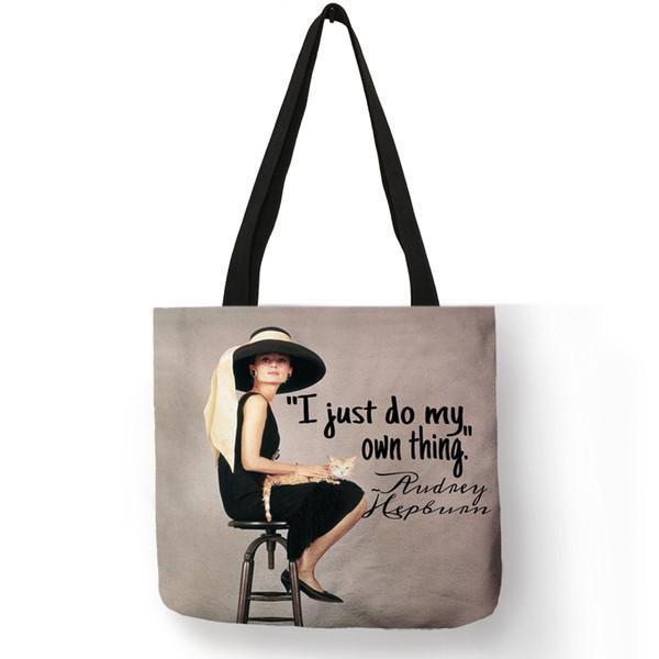 Großhandel Einzigartige Anpassen Tasche Eco Leinen Taschen Mit Audrey Hepburn Drucken Wiederverwendbare Einkaufstaschen Mode Handtasche Totes Für