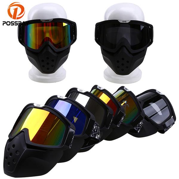 POSSBAY Cascos de motocicleta Máscara de cara abierta Gafas Motocross A prueba de viento Gafas de ciclismo de carretera Máscara modular Gafas desmontables