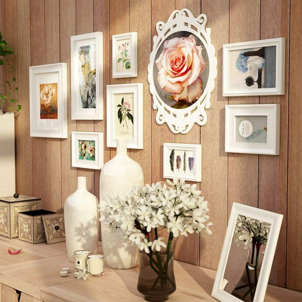8 Solid Wood Photo Frame Wall Gallery Kit Includes: Frames, Art Painting Core,Hanging Wall Template