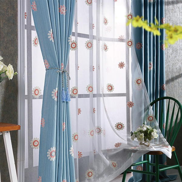 Pastoral custom cotton and linen embroidered curtain blackout window finished finished living room bedroom floor curtains sun flower