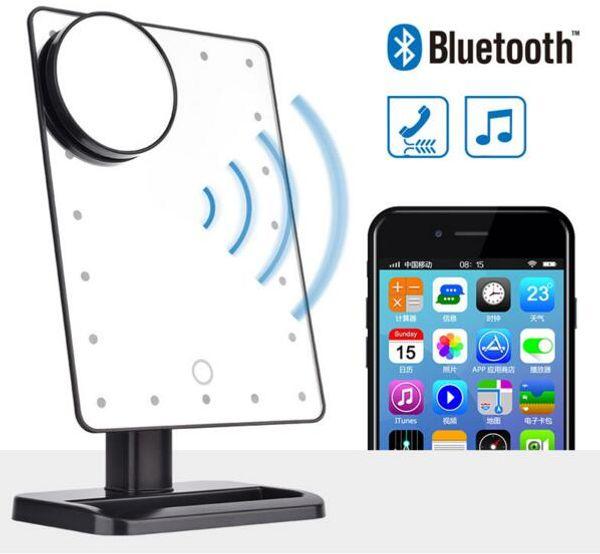 Strumento di bellezza delle luci degli specchi di ingrandimento dell'altoparlante 10X di Bluetooth dello specchio di trucco del touch screen di rotazione di 180 gradi 20 LED Trasporto libero del DHL