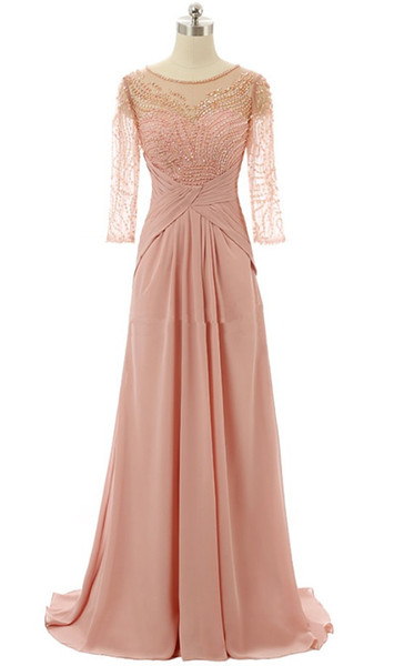 Blush Pink Sheer Neck Mother of the Bride Groom Dresses With Illusion Half Sleeves Beaded Sequined Chiffon Hollow Back Evening Prom dresses