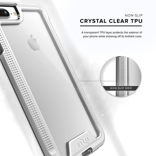 GDGY ION Series for iPhone 8 Plus Case / iPhone 7 Plus Case - Military Grade Drop Tested with Tempered Glass Screen Protector (Silver/Clear)