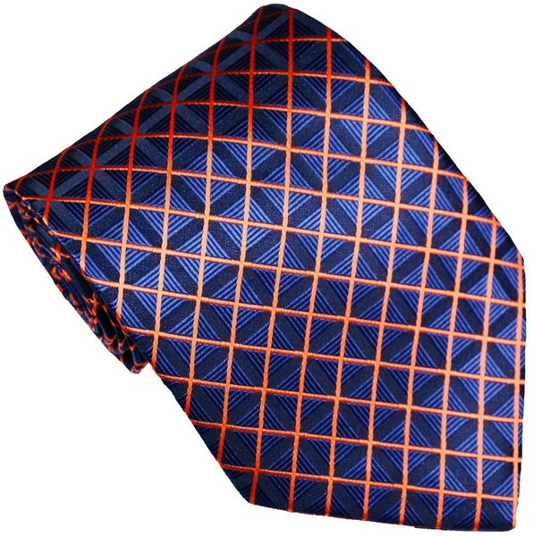 Brand New Classic Plaids Checks Blue Orange JACQUARD WOVEN 100% Silk Men's Tie Necktie