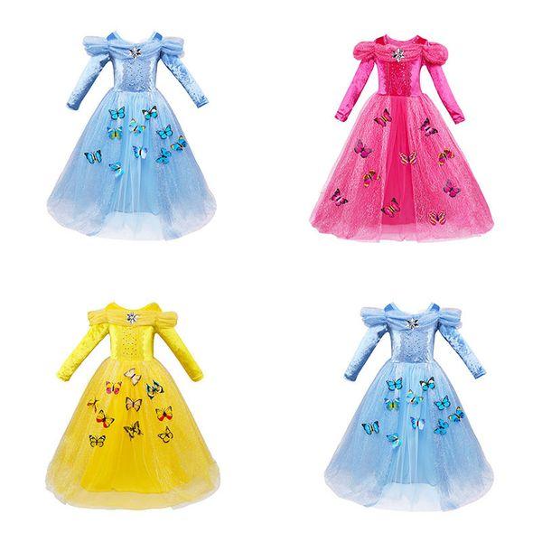 Baby Girls butterfly lace Dress Christmas Tutu princess Dresses Kids snowflake diamond Party Dress free shipping C2788