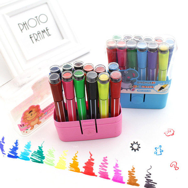 Diy Art Supplies Cute Stationery Kawaii 12 Colors Washable Watercolor Highlighters Pen Marker Pens With Stamps For Anime Drawing
