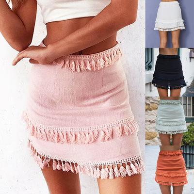 2018 European and American source hot sale Five-color tassel Slim Slim skirt A-line skirt women's summer free shipping