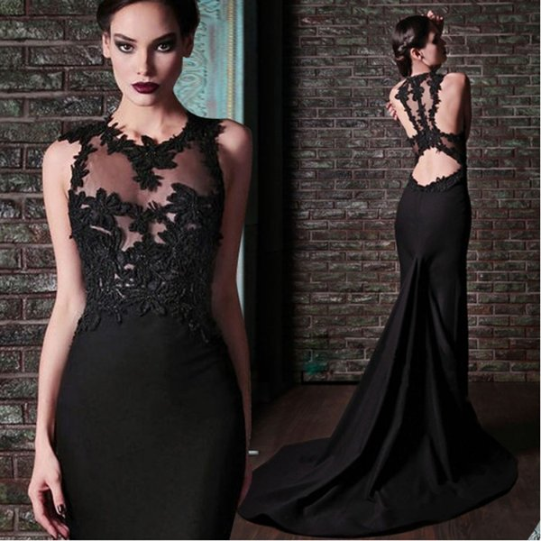 2018 robe de soiree Black Mermaid Evening Dresses With Applique Sheer Neck Sleeveless Long Black Evening Gowns Online Shopping