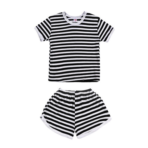 Girls black white striped casual outfits 2pc set short sleeve T shirt+shorts cute fashion kids summer clothing ins