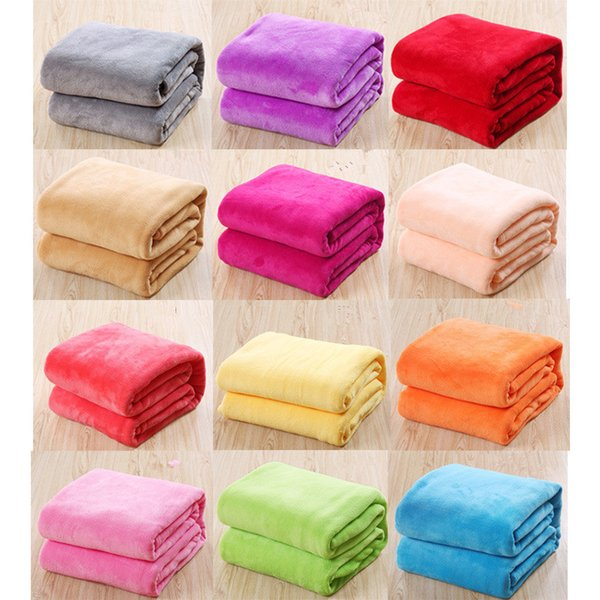 Kids Solid Color Flannel Blankets Winter Warm Blankets Sofa children Swaddling 50*70cm baby bed sheet B11