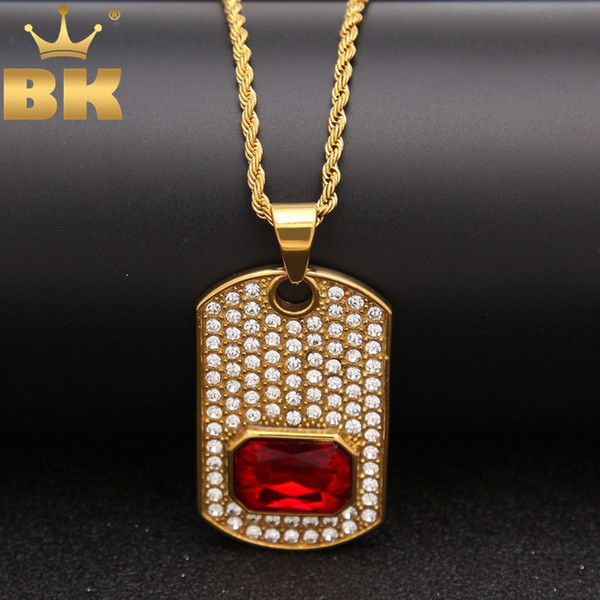 THE BLING KING Fashion Dog Tag Necklace Men With Red Gem Pendant Full Iced Out Rhinestones Stainless Steel Hiphop Jewelry