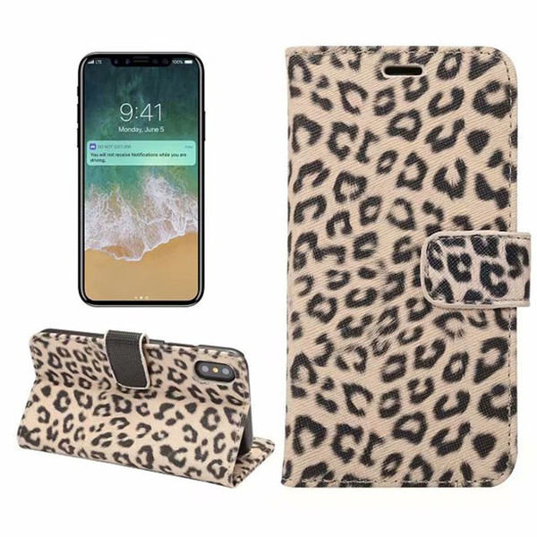 Sexy leopard print Leather Case For iPhone X XS Wallet Flip stand Cover carcasas With Card Slot Mobile Phone Bags