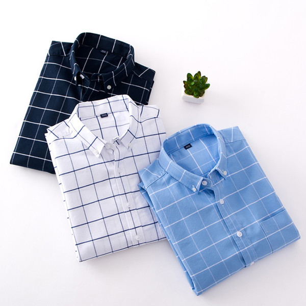 100% cotton long sleeve casual shirt men brand clothing fashion plaid shirt male slim fit camisa masculina, White;black
