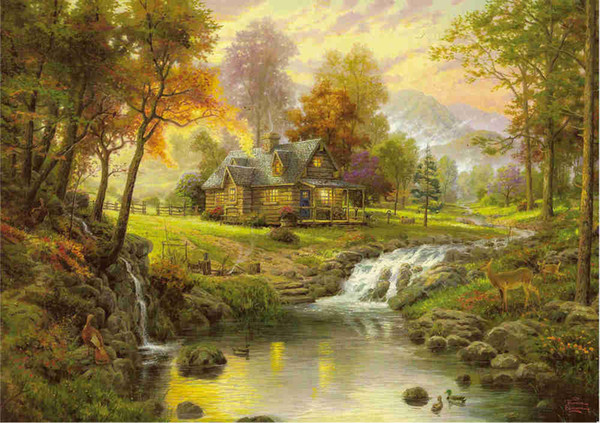 Thomas Kinkade Landscape Painting Reproduction High Quality Giclee HD Print on Canvas Modern Wall Art Decor Chrismas holiday Picture HYTMS37