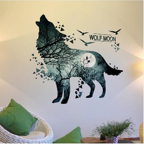 Free shipping Wolf Moon Wall Stickers PVC Material DIY Forest Tree Branch Birds Wall Poster for Kids Rooms Decoration Mural Art