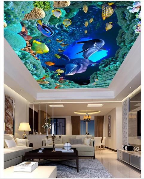 3d wallpaper custom photo ceiling mural wallpaper HD Ocean World Dolphin Stereo living room Ceiling Zenith Mural Large Starry Sky wallpaper