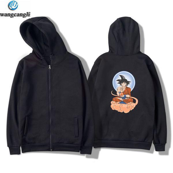 New Arrival Anime  Z Goku Zip Up Hoodies Men 2018 Spring Autumn Men Jacekt Sweatshirt Fashion Slim Fit Coat For Fans