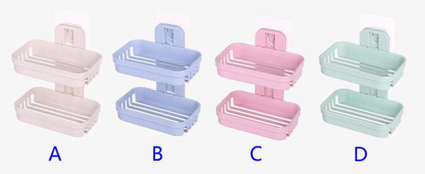 MOMEY contenitori portasapone Scatola di Doppio Strato di plastica PP per Doccia Blue