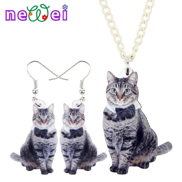 NEWEI Sweet Acrylic Bowknot Grey Cat Kitten Earrings Necklace Chain Collar Fashion Animal Jewelry Sets For Women Girls Gift Teen