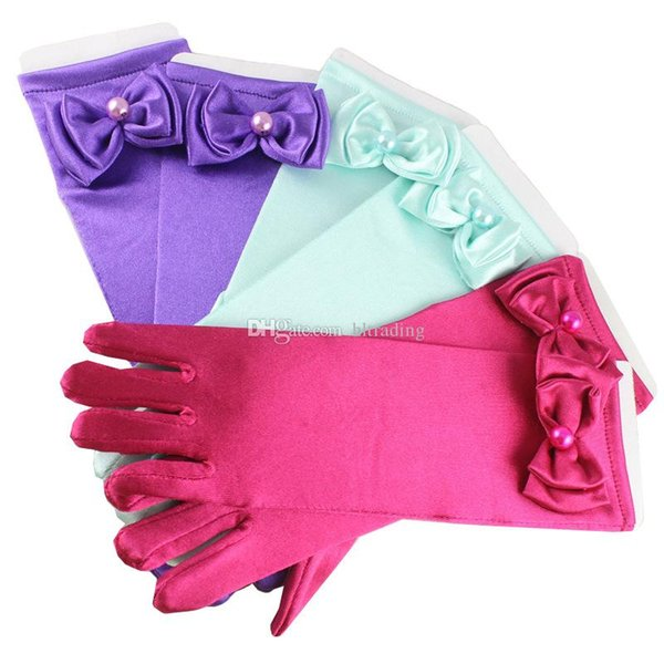 5 colors Baby Bow pearl Princess Gloves cartoon Girls Princess Mittens for Dress Halloween Cosplay Party Gloves Kids Accessories C4950
