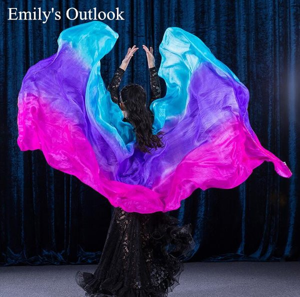 "Customized Girl's Silk Belly Dance Shawl Veil Scarf Gradient Color 79*35"" Kids Stage Performance Props Assorted Free Shipping"