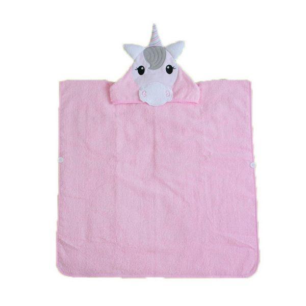 IVYSHION Whole Cotton Children's Bathrobe Towel Comfortable Beach Towel For Children Cartoon Animal Bath Towels Pink Color Blanket