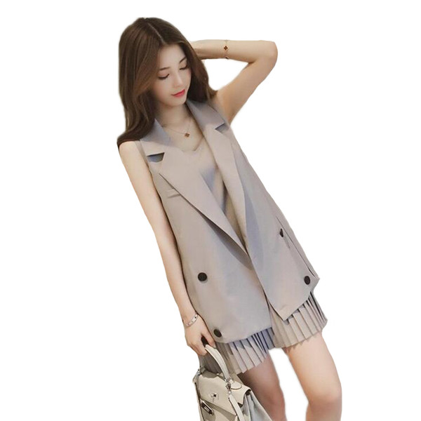 Newest Korean Style Professional Brown Vest Jacket+Pleated Strap Dress Slim Elegant Office Lady Business Suits Female Vest Suits