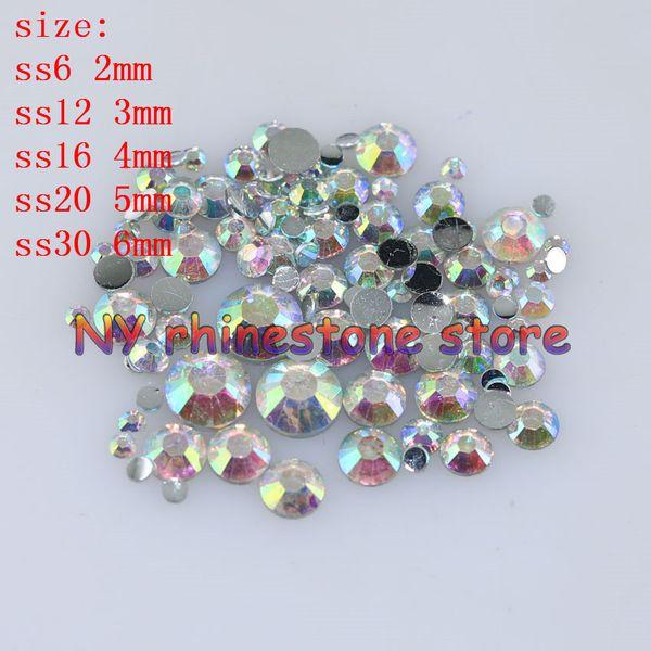 top popular 1000-10000pcs bag 2-6mm Clear AB Resin Crystal Rhinestones FlatBack Super Glitter Nail Art Strass Wedding Decoration Applique Non HotFix 2021