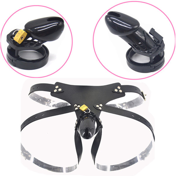 Male Plastic CB6000 CB6000S Strap On Chastity Cage Chastity Devices Black Cock Cage Lock with 5 Base Rings Sex Toys for Men G7-3-15