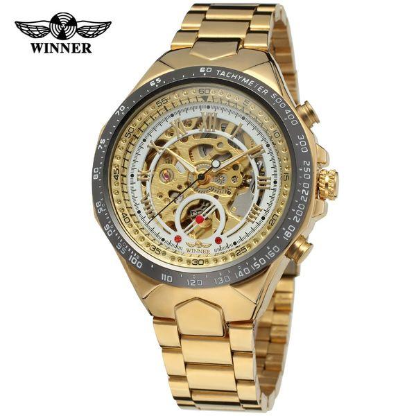 Men Sport Wristwatch Winner Good Quality Skeleton Automatic Mechanical Movement Wrist Dress Watch Fashion Gold Watch Male Clock