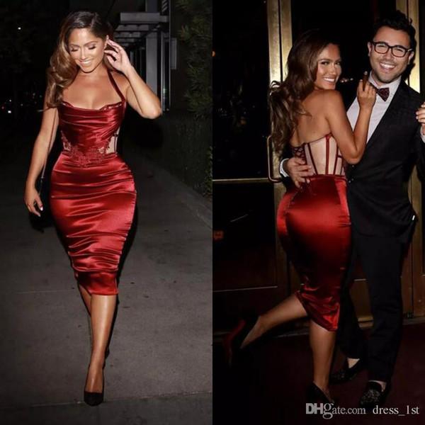 Sexy Dark Red Elastic Silk como satinado vestidos de cóctel de la envoltura corta para las mujeres Cheap Halter Lace Up Back vestidos de fiesta hasta la rodilla