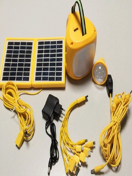 Kit de iluminación solar portátil con puerto de carga USB, cable USB, panel solar, bombilla LED y adaptador de alimentación