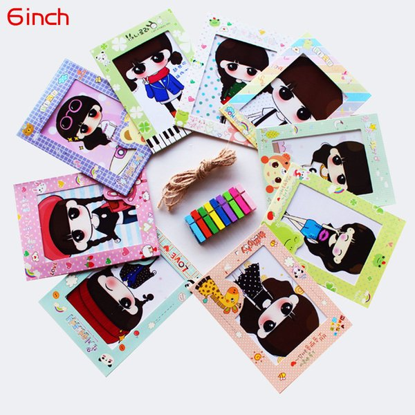 1 Set 9 Boxes 6inch Cartoon Animal Paper Photo Frame Home Decor Wall Picture Album Section Hanging Rope with Wooden Clip