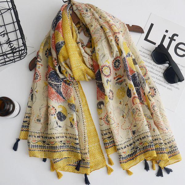 2018 new fashion scarf yellow sun flower print women's cotton scarf ethnic style totem printing holiday sunscreen shawl beach towel