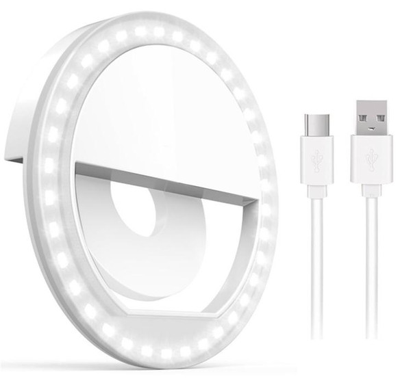 Rechargable Selfie Light Ring with 36 LED Lights 3 Brightness Level Cell Phone Laptop Camera Photography Video Lighting with Retail Package