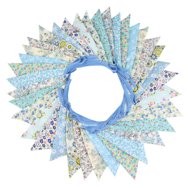 36 Flags 10m Blue Flowers Designs Cotton Fabric Bunting Pennant Flags Banner Garland Wedding Party Outdoor DIY Home Decoration